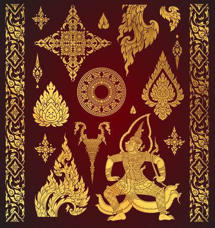 Set of Thai art element, Decorative motifs. Ethnic Art, icon vector Çizim