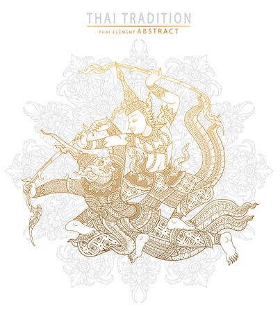 the ramayana: thai tradition ramayana story,rama fighting action.vector Illustration
