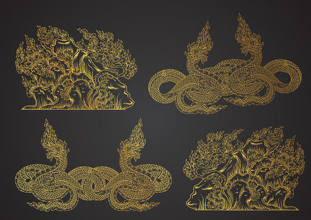 tradition: naga and island outline thai tradition vector