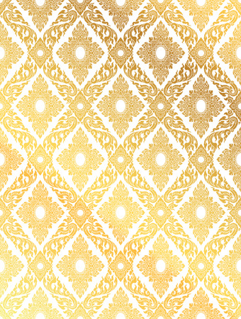 Line Thai, gold color tradition seamless pattern background Illustration