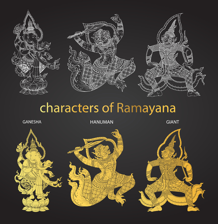 tradition: set action characters of Ramayana,thai tradition style vector
