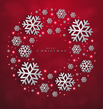 Christmas and New Years red background with paper snowflakes