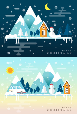 Winter time. Snow mountains, country hotel in forest area, Ski resort infographics