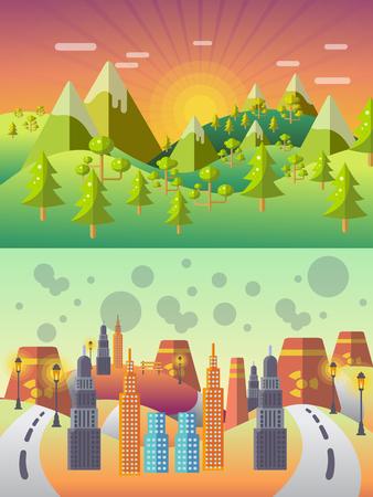 Ökologiekonzept Vektor . Stadtlandschaft . Umweltverschmutzung und Umweltschutz Vektorgrafik