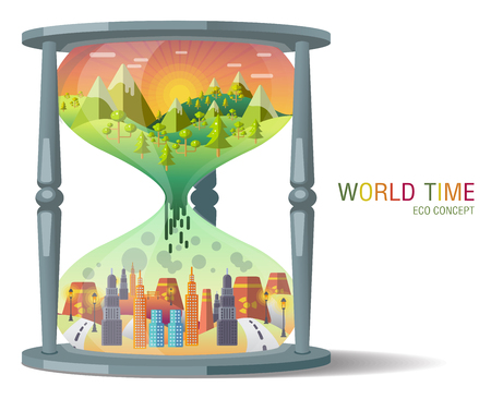 hourglass Ecology Concept Vector. city landscape. Environmental pollution and environment protection. Illustration