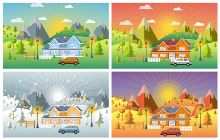 landscape design set with Winter, Spring, Summer, Autumn. houses, 4 seasons set. Vectores