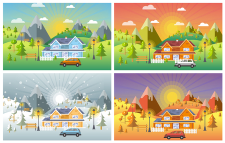 landscape design set with Winter, Spring, Summer, Autumn. houses, 4 seasons set. 矢量图像