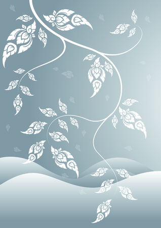 winter leaf: winter leaf of thai tradition vector
