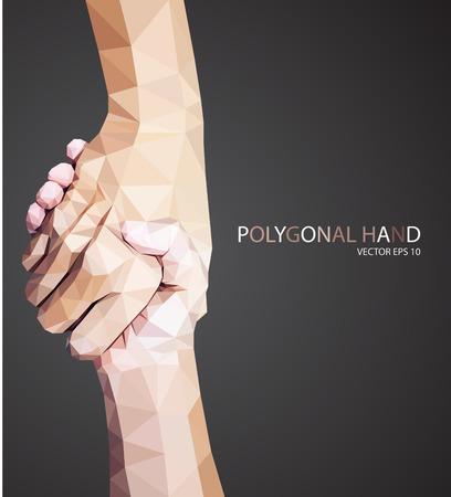 Driehoekige hold handen, help teken vector Vector Illustratie