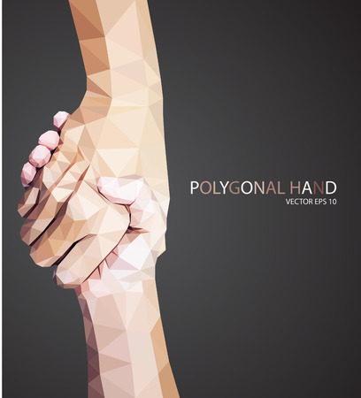 Triangular hold hands,help sign vector Illustration
