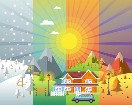 landschapsontwerp set met winter, lente, zomer, herfst. huizen, 4 seizoenen in te stellen. Vector Illustratie