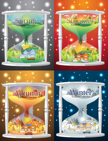 spring summer: hourglass landscape design set with Winter, Spring, Summer, Autumn. houses, 4 seasons set. Illustration