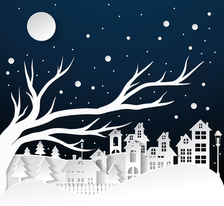 paper art Winter Snow Urban Countryside Landscape City Village with full moon,Happy new year and Merry christmas Çizim