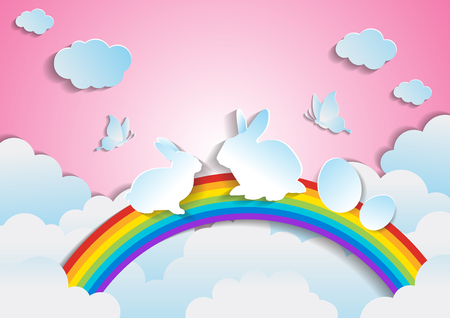 Easter with rainbow and sky.paper art style. Illustration