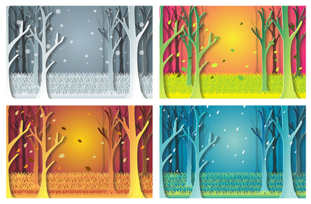 nature set with Winter, Spring, Summer, Autumn. houses, 4 seasons set.