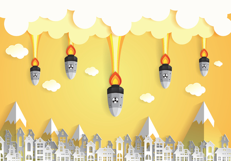 nuclear bomb: Nuclear war - atom bombs falling on the city,paper art style Illustration
