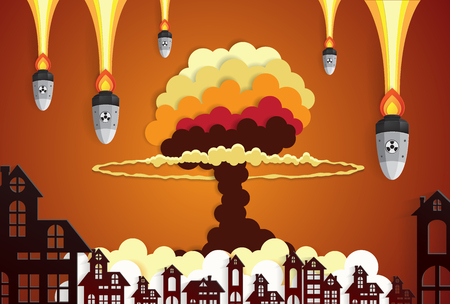 nuclear explosion: Nuclear explosion bright orange fiery mushroom cloud cap in city center,paper art style