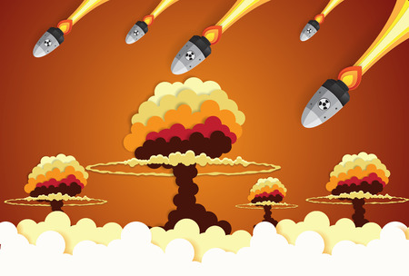 Nuclear war - atom bombs falling on the city,paper art style Illustration