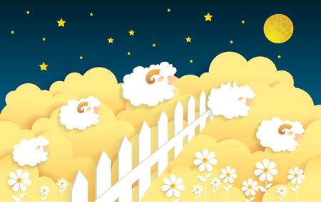 Counting sheep. Cartoon character happy jumping sheep for. Sweet dreams.paper art Illustration