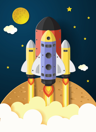 Start up concept. rocket flying on the mars,paper cut Banco de Imagens - 70141310
