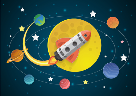 Start up concept. rocket flying on the moon,paper cut