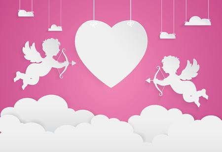 幸せなバレンタインデー、ハートと空、ペーパー アート スタイルのキューピッド。