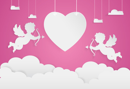 happy valentine day,heart shape and cupid on sky, Paper art style.