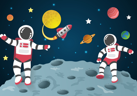 Astronaut cartoon on the moon with a spaceship in space,paper art