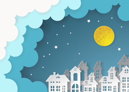 City Village with full moon and urban.paper art style