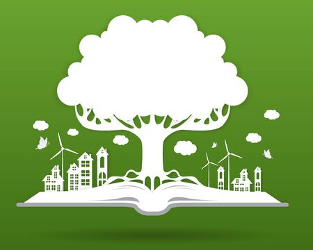 Ecology concept,paper tree growing from an open book