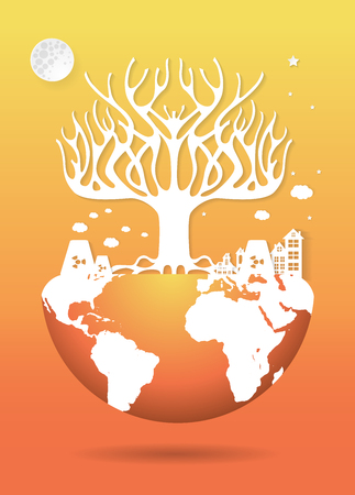 deforested: Save the world, Dry tree on a deforested globe,paper art