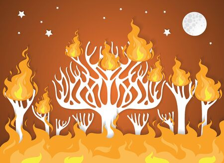 burning forest trees in fire flames - natural disaster concept,paper art.