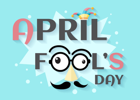 April Fools Day text and funny glasses vector for greeting card Иллюстрация