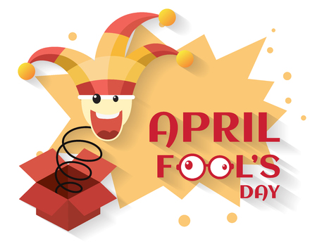 comedian: April fools day,jack in the box toy, springing out of a box. vector illustration.