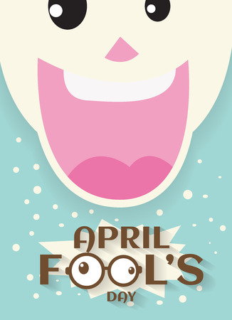 april fools day concept design with Laughing mouth joke.vector