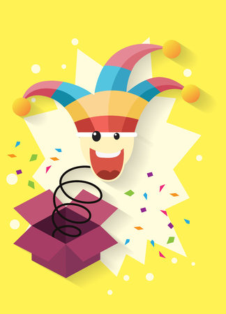 april fools day,jack in the box toy, springing out of a box. vector illustration.