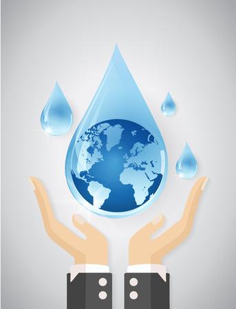 Save water concept with hand,Vector illustration Reklamní fotografie - 74018264