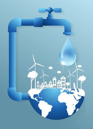 Una gota de agua del grifo y la tierra, símbolo ecológico Ilustración de vector