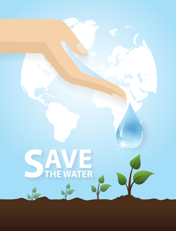 Hand watering tree.Concept of environmental protection. Vector flat design illustration.