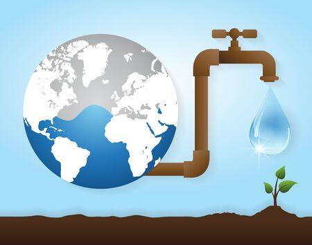 Valve watering tree.Concept of environmental protection. Vector  design illustration. Reklamní fotografie - 74018254