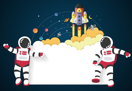 Astronaut cartoon with a spaceship in space and sign,vector Illustration