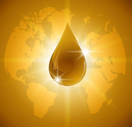 Oil drop isolated on Earth. Icon of drop of oil or honey,vector