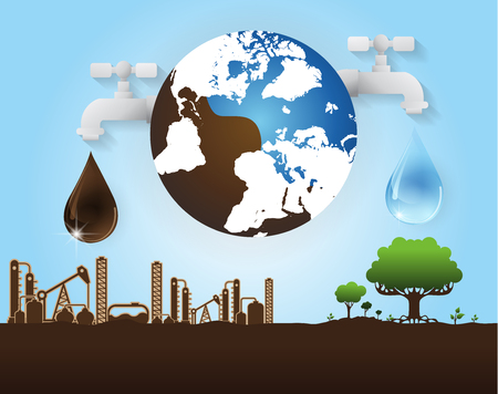oil and water industry concept, extraction, processing,vector