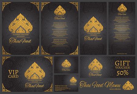 food: vector thai food restaurant menu template.thai tradition background Illustration
