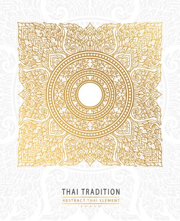 cover Thai art element Traditional gold on white background.vector