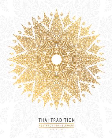 白 background.vector にタイ芸術要素伝統的なゴールドをカバーします。