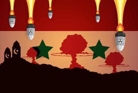 Nuclear explosion war fiery mushroom in Syria