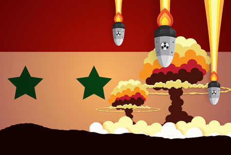 Nuclear explosion war fiery mushroom in Syria,paper art style Illustration