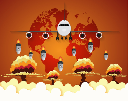 Airplane Nuclear - atom bombs falling on Earth,paper art style Illustration