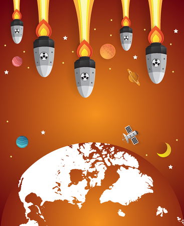 nuclear bomb: Nuclear war - atom bombs falling on Earth,paper art style